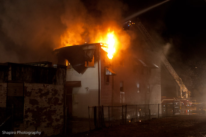 commercial building fire in North Chicago IL 1032 SHeridan Road 3-18-12