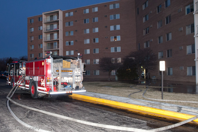 Schaumburg FIre Department high-rise fire 1-7-12 on Valley Lake Drive
