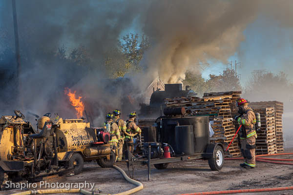 fire in a material yard at 165 Hintz road 10-12-12 Wheeling Fire Department (IL)