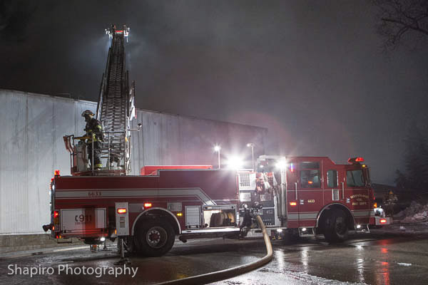 huge 13-alarm fire in Burlington WI at Echo Lake Foods 1-30-13