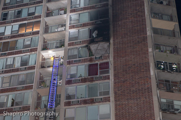fire in the 9th floor apartment of the high-rise at 3925 Triumvera Drive in Glenview IL 9-11-13 Larry Shapiro photography