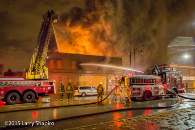 Chicago firefighters battle a 2-11 alarm fire at 126 E 47th Street 11/17/15 Larry Shapiro photographer shapirophotography.net