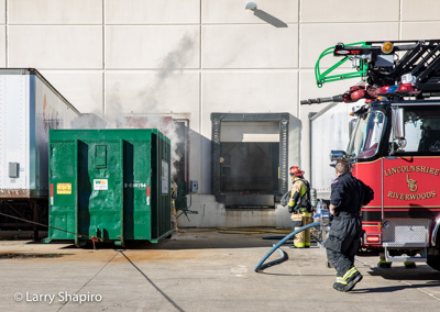 compactor fire at 2500 Millbrook Drive, Buffalo Grove, IL Shapirophotography.net Larry Shapiro photographer