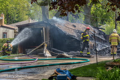 Wheeling IL fire department detached garage fire 5-12-17 Anthony Road Larry Shapiro photographer Shapirophotography.net
