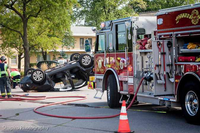 crash with rollover on Waukegan Road at  Topps Lane in Glenview, IL 9-4-12