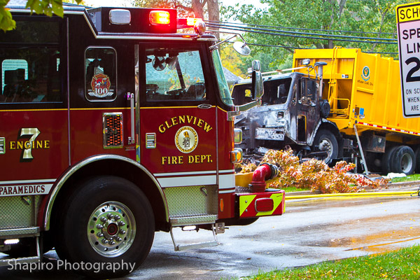 Glenview Fire Department 10-15-13 3 dead after car and garbage truck crash Larry Shapiro photography