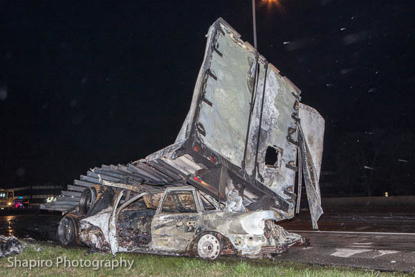 fiery crash on the Edens Expressway 4-21-13 in Northfield Larry Shapiro photos