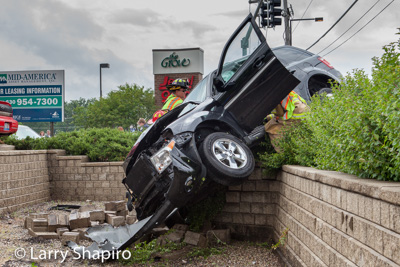 two people were trapped after a two car crahs in Buffalo Grove IL 6/7/15 on McHenry Road near Lake Cook Road shapirophotography.net Larry Shapiro photographer extrication