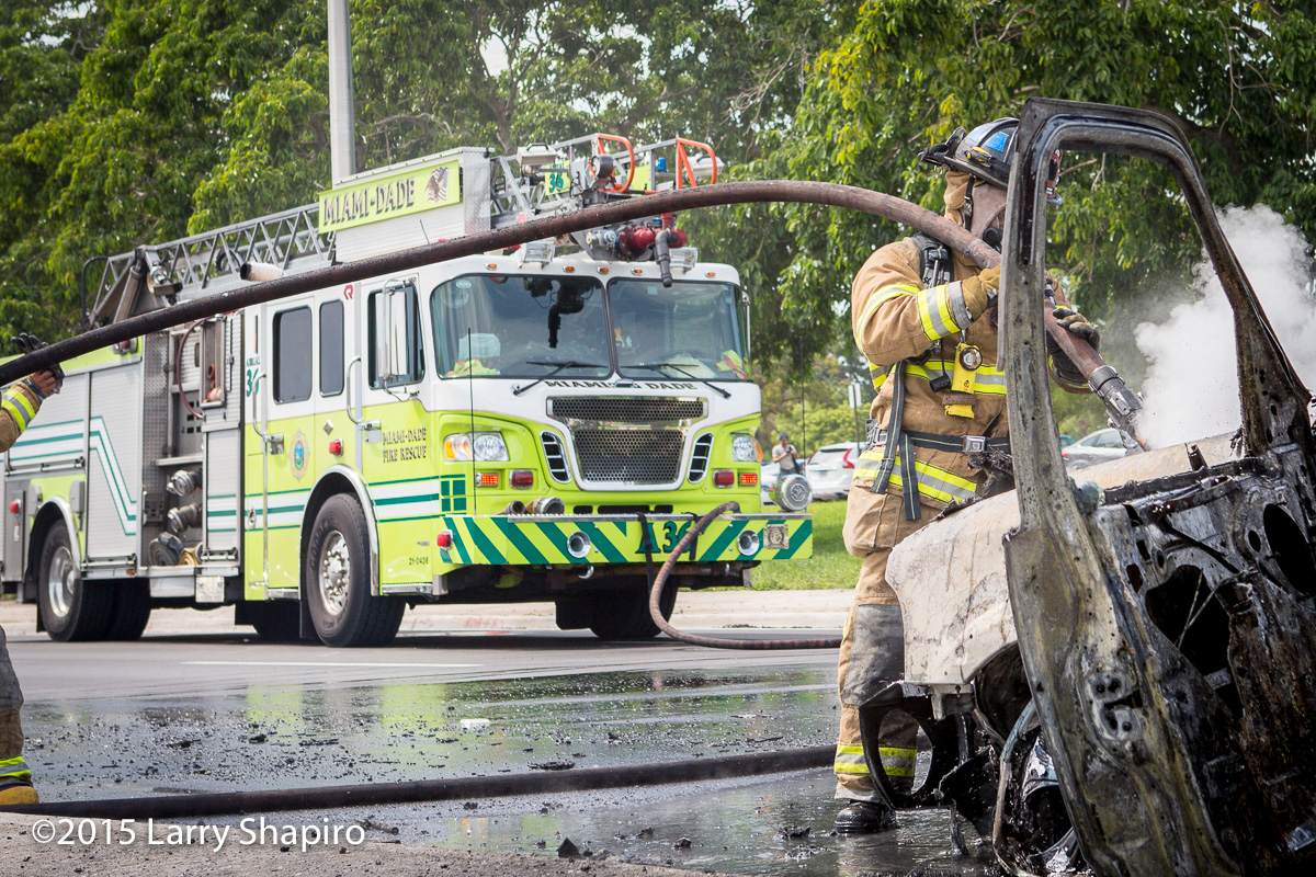 Miami-Dade County firefighters extinguish a car fire 8-25-15 Larry Shapiro photographer shapirophotography.net