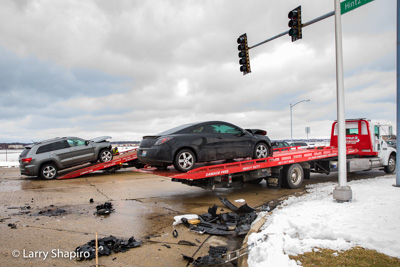 Gene's Towing with Century carriers at a crash 3-13-17 in Wheeling IL at Hintz Road and Wolf Road Larry Shapiro photographer Shapirophotography.net
