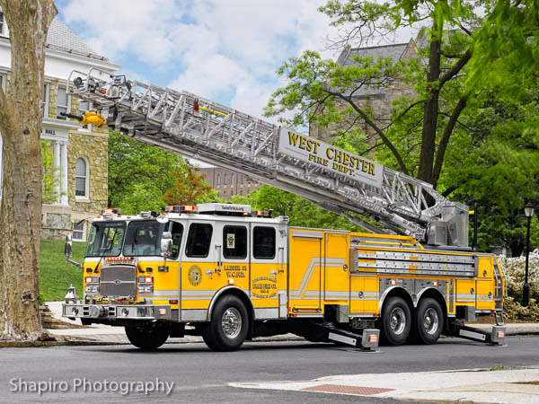 Fame Fire Company No. 3, Borough of West Chester, PA 2012 E-ONE Cyclone II HP137 aerial ladder truck Ladder 53 Larry Shapiro photography
