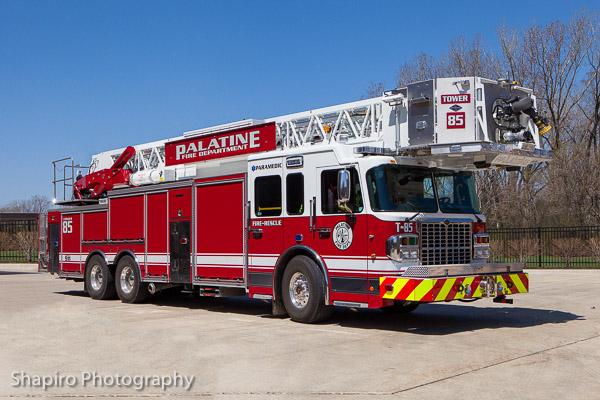 Palatime Fire Department new Tower Ladder 85 Spartan ERV tower ladder Larry Shapiro photography shapirophotography.net