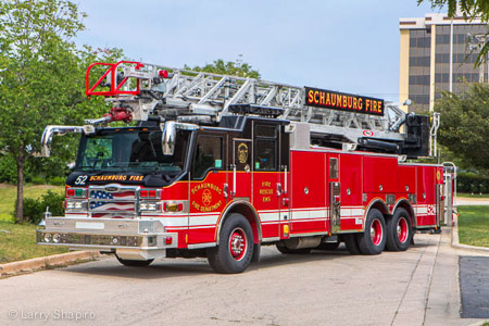 Schaumburg Fire Department Truck 52 apparatus Pierce Velocity 100' aluminum aerial ladder Larry Shapiro photography shapirophotography.net