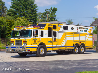 Downingtown Fire Department PA fire trucks fire apparatus Pierce Lance heavy rescue squad E-ONE Cyclone II HP95MM tower ladder Larry Shapiro photographer shapirophotography.net yellow fire trucks