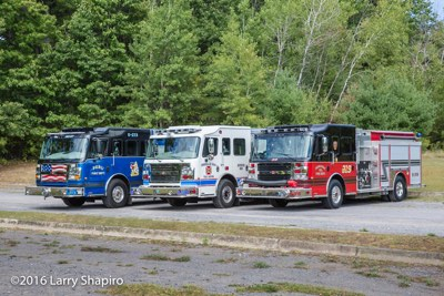 Three Rosenbauer America Commander fire engines from upstate NY shapirophotography.net Larry Shapiro photographer Peru FD Saranac Lake VFD Cumberland Head FD red white and blue