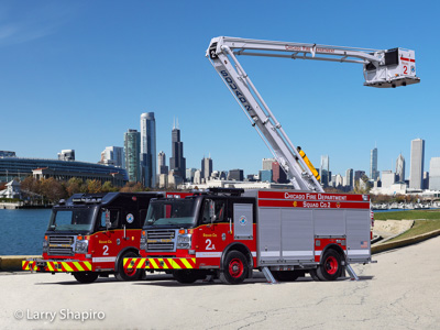Chicago Fire Department Squad 2 Chicago FD Squad 2A Rosenbauer Commander squad for CHicago ACP-55 Larry Shapiro photographer Shapirophotography.net
