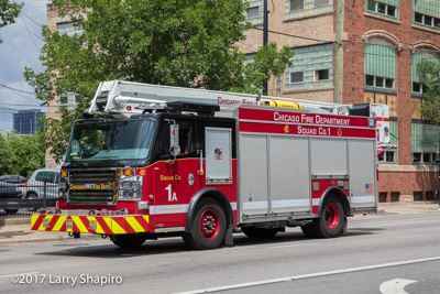 Chicago Fire Department Squad 1 Squad 1A Rosenbauer America Commander ACP-55 Cobra articulating platform fire trucks Engine 4 Truck 19 Collapse Rescue Unit 521 Communications Van 271 #larryshapiro shapirophotography.net Larry Shapiro photographer Battalion 2