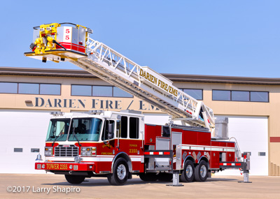 Darien Fire Rescue Department WI fire trucks Ferrara Inferno tower ladder fire truck shapirophotography.net Larry Shapiro photographer