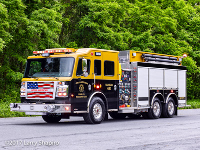 Good American Hose Company Mahoney City PA Rosenbauer America Commander pumper tanker fire engine copper brown fire truck Larry Shapiro photographer shapirophotography.net #larryshapiro