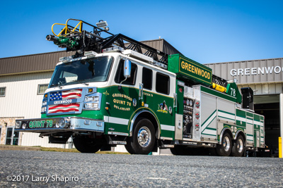 Greenwood Volunteer Fire Company Greenwood DE fire trucks apparatus green fire trucks Rosenbauer America Commander Viper aerial quint Pierce Velocity pumper shapirophotography.net Larry Shapiro photographer #larryshapiro