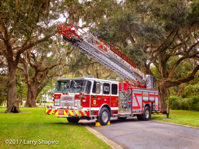 Midway Fire District Pawley's Island SC fire trucks E-ONE Cyclone II HP78 quint oak trees with hanging moss #larryshapiro Larry Shapiro photographer shapirophotography.net