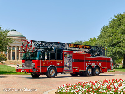 University Park Fire Department TX Truck 451 E-ONE Cyclone II quint stell aerial ladder HPS100 shapirophotography.net #larryshapiro Larry Shapiro photographer
