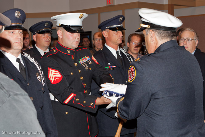 US Marine presents Buffalo Grove Fire Department with flag flown in Afghanistan