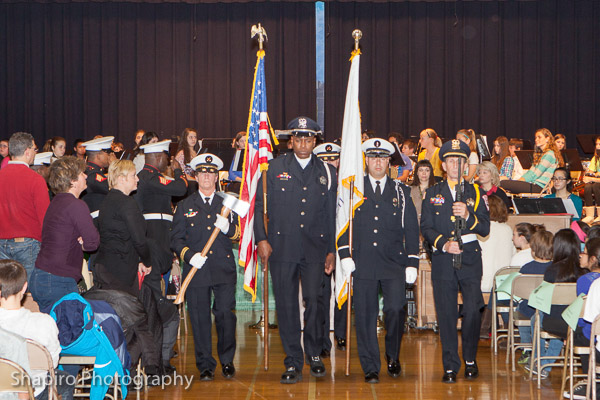 Buffalo Grove Fire Department and Police Department honor guard at Cooper Middle School Veteran's Day 2013 Larry Shapiro photography shapirophotography.net