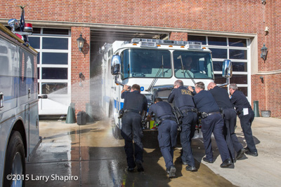Glencoe Public Safety Department wet-down of new fire engine 11-5-15 shapirophotography.net Larry Shapiro photographer